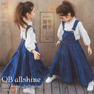 女童吊帶裙 蛋糕層次大裙襬牛仔吊帶連身長裙 韓國外貿中大童 QB allshine
