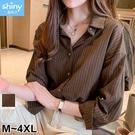 【V3223】shiny藍格子-洋氣港風‧簡約直條紋長袖襯衫