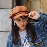 女春夏季文藝細膩日系毛呢純色八角帽子