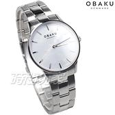 OBAKU 源自丹麥 風格簡約 永恆設計 珍珠螺貝面盤 銀色 不銹鋼 女錶 V247LXCWSC