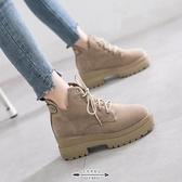 馬丁靴 女秋冬季潮厚底內增高新百搭款英倫風短靴子 - 古梵希