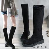 真皮平底長靴女高筒馬丁靴長筒