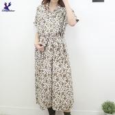 【秋冬新品】American Bluedeer - 印花開襟洋裝 二色