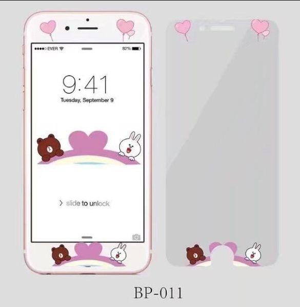【SZ14】iPhone 6s鋼化膜 卡通棕色熊可妮兔浮雕鋼化膜 iPhone 7/8 plus 鋼化玻璃膜 螢幕貼 保護貼