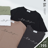 草寫英字圖案圓領寬鬆T恤上衣-BAi白媽媽【310305】