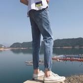 春季九分褲牛仔褲子 男士韓版潮流修身直筒休閒百搭束腳小腳9分褲