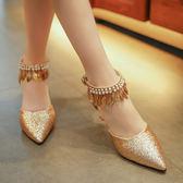 涼鞋 方跟純色空包頭 腳環綁帶一字單鞋