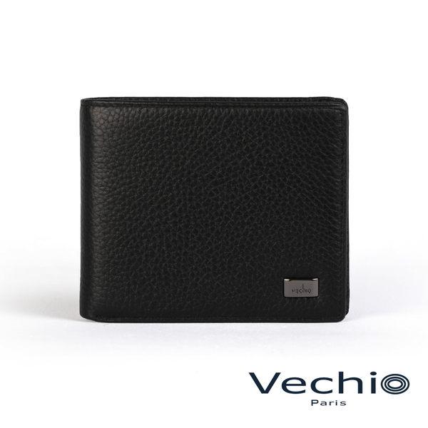【VECHIO】荔枝壓紋系列9卡中翻透明窗皮夾(經典黑)VE039W02BK