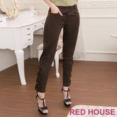 Red House 蕾赫斯-交叉造型素面長褲(墨綠)