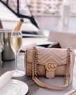 ■專櫃88折■全新真品■ Gucci GG Marmont 小款 26cm 雙G 金鍊肩背包 裸粉色