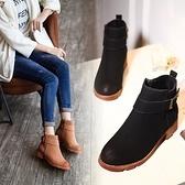粗跟短靴-歐美經典磨砂皮帶扣女馬丁靴2色73is38【時尚巴黎】