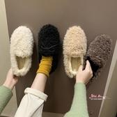 毛毛鞋 網紅同款豆豆鞋女韓版加絨棉瓢鞋女鞋2019秋冬季外穿蝴蝶結毛毛鞋35-40碼 4色