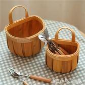 日式手工編織木片帶提手籃子藤編收納籃野餐面包籃水果籃儲物掛籃 潔思米YXS