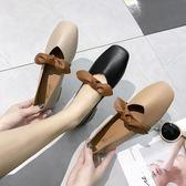 豆豆鞋女春季韓國方頭低跟單鞋女平底鞋百搭小皮鞋女鞋潮【東京衣秀】