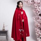 古裝披風女漢服鬥篷戲曲服裝演出表演服裝漢服女新款仙鶴披風搭配
