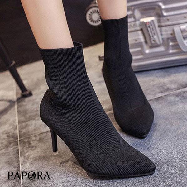 時尚彈性襪尖頭細跟短靴KYK27黑PAPORA