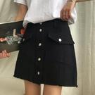 韓版新款百搭高腰 顯瘦a字半身裙女夏季學生短裙寬鬆牛仔裙潮  快速出貨