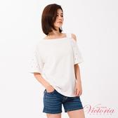 Victoria 不對稱肩線釘釦短袖T-女-V85445