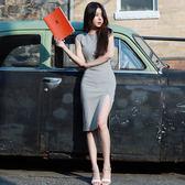 梨卡 - 優雅氣質性感超顯身材顯瘦開叉中長版長裙沙灘裙連身裙B835