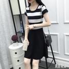 單件 中大尺碼短袖洋裝 新款連身裙黑白條紋中長款修身韓版女裝百搭裙 DR34367【美好時光】