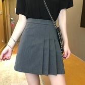 百褶半身裙 女夏季2020新款高腰包臀短裙A字bm裙子遮胯半裙黑色 JX3775