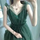仙女裙溫柔性感法式超仙森系洋裝子綠色網紗...