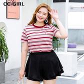 中大尺碼 紅鶴繡線條紋T恤上衣~共兩色 - 適XL~5L《 66321J 》CC-GIRL