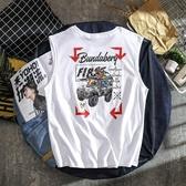 背心男潮流印花無袖日系T恤百搭寬鬆夏季坎肩上衣棉t歐美街頭潮牌 極客玩家