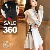 SISI【D8152】現貨韓chic寬鬆顯瘦綁帶縮腰連帽長袖連身裙洋裝