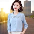 娃娃領雪紡襯衫女長袖2021春季新款韓版小衫氣質時尚洋氣襯衣上衣 快速出貨