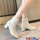 高跟短靴 粗跟短靴女秋冬及踝靴2021新款高跟瘦瘦靴時尚方頭中跟加厚絨女靴 618狂歡