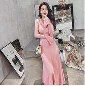 現貨 紅色  XL  時尚長裙 33835/打底氣質名媛修身小香風拼接針織喇叭長袖連身裙   皇潮天下