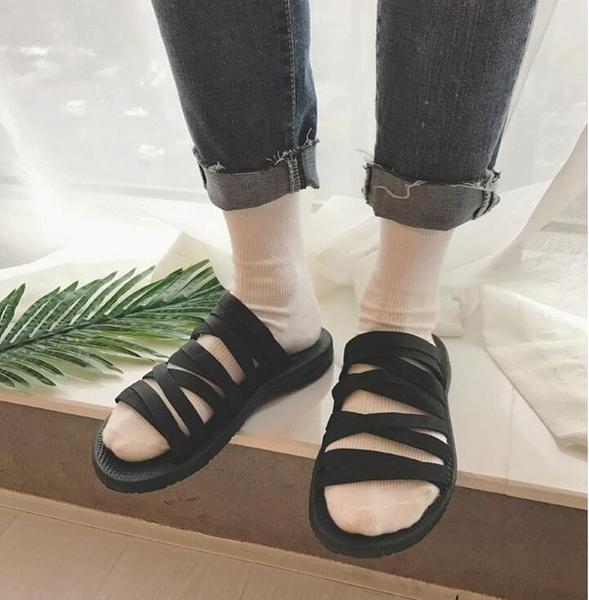 找到自己品牌 男 時尚 潮 休閒 黑 條紋 編織 拖鞋 一字拖 沙滩拖鞋