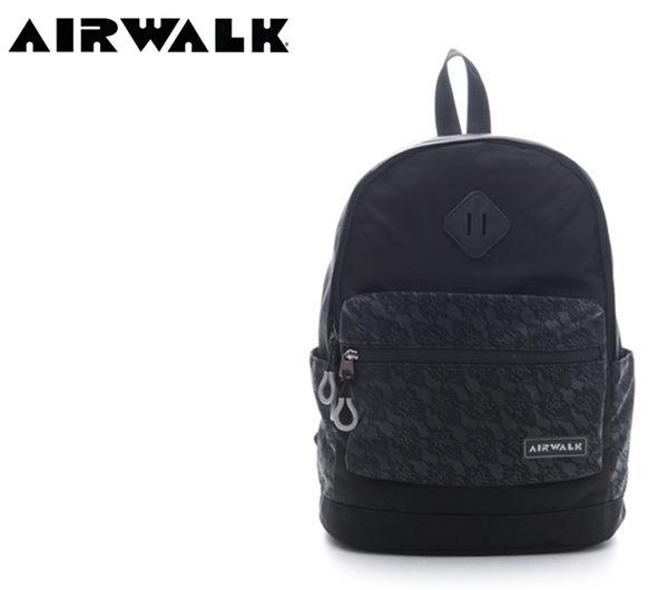 【橘子包包館】AIRWALK 蕾絲口袋 輕量小豬後背包 A615321220 黑色