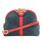 GUCCI 古馳 藍紅藍織帶麂皮斜背包 貝殼包 Ophidia 499621 【二手名牌BRAND OFF】