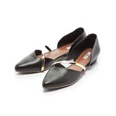 【Fair Lady】優雅小姐Miss Elegant 金屬斜帶側挖空尖頭低跟鞋 黑