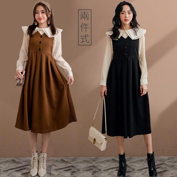 現貨-MIUSTAR 兩件式!蕾絲大領皺皺上衣+排釦毛料背心洋裝(共2色)【NH3663】