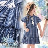 波西米亞手繪感葉紋荷葉袖洋裝(290277)【水娃娃時尚童裝】