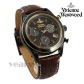 【萬年鐘錶】 Vivienne Westwood  Sotherby蘇富比三環計時碼錶真皮 黑x棕 43mm  VV142BRBR