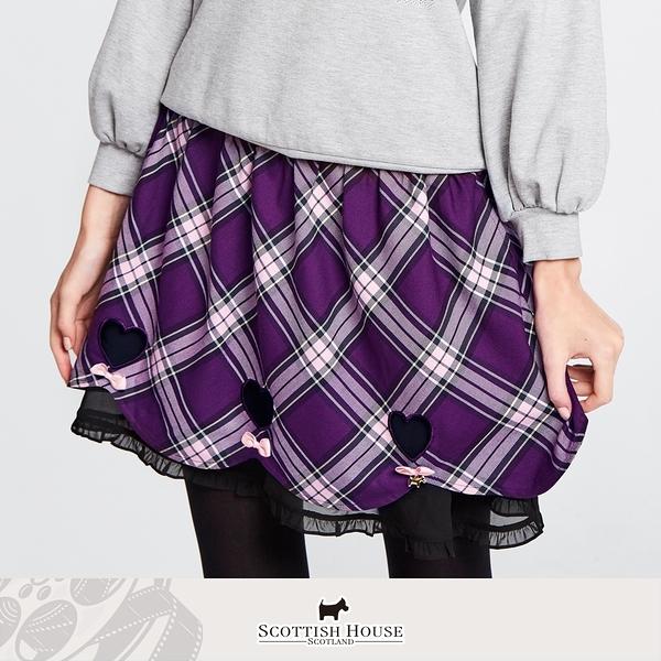 接雪紡荷葉愛心貼布花瓣短裙 Scottish House 【AM2110】