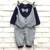 【韓版童裝】寶寶彈力萊卡棉前排扣條紋假二件背心連身衣/兔裝-灰【BX18100548】