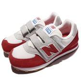 New Balance 慢跑鞋 574 NB 紅 灰 麂皮 魔鬼氈 童鞋 中童鞋【PUMP306】 KV574RUYW