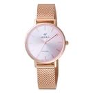 MIRRO 極簡主義時尚腕錶-玫瑰金X粉小