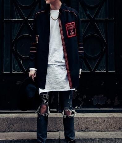 FINDSENSE品牌 男 時尚 街頭 潮 字母印花 小橫條包邊設計 長袖襯衫