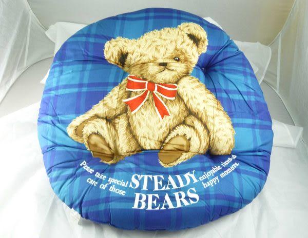 【震撼精品百貨】日本泰迪熊_STEADY BEARS~圓形靠枕/坐墊『藍格&紅格&紅&藍』(共四款)