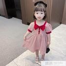 學院風蝴蝶結女童格子短袖連身裙2021夏季新款韓版時尚洋氣公主裙 韓慕精品