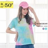 加大尺碼--俏麗粉嫩暈染花紋寬鬆休閒圓領棉質短袖T恤(藍.紫XL-4L)-T393眼圈熊中大尺碼