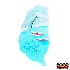 【收藏天地】台灣紀念品*米亞島型冰箱貼-淡水 ∕  磁鐵  彩繪 觀光 禮品 辦公小物 生活用品