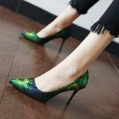 性感尖頭細跟高跟鞋復古花朵單鞋