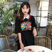 夏季女裝韓版中長款娃娃領卡通印花寬鬆短袖T恤連衣裙學生裙子潮  LM々樂買精品